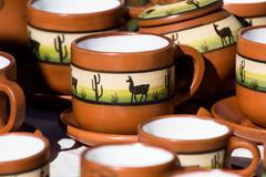 ceramic in local market in peru, south america. - stock photo