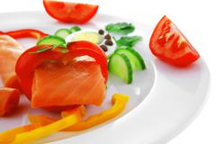 salmon and vegetables - stock photo