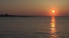 ocean city nj 9th st bridge sunset 1 - stock footage