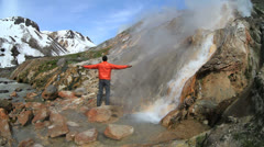 tourist, geyser - stock footage