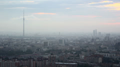 Moscow General view with TV tower twilight Stock Footage