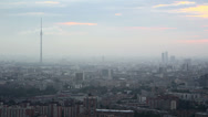 Stock Video Footage of Moscow General view with TV tower twilight
