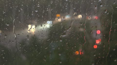 Rain fell on the glass.Night, Lights, Stock Footage