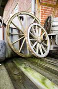 Two wagon wheels - stock photo