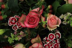 Mixed pink wedding arrangement Stock Photos