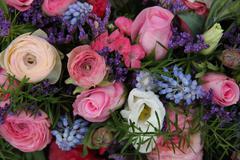 wedding arrangement in blue and pink - stock photo