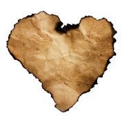 Burned heart-shaped paper isolated on white. Stock Illustration
