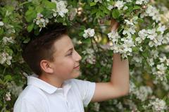 Boy under a blooming apple tree Stock Photos