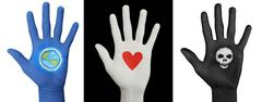 Painted Hands 3 Pack - Earth. Heart, Skull Stock Photos