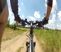 Riding a mountain bike Stock Footage