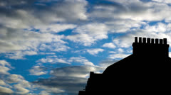 Time Lapse silhouette english roof and clouds Stock Footage