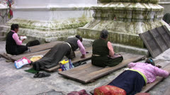 Tibetan Prostration Stock Footage