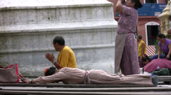 Tibetan Prostration Stock Footage