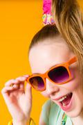 girl and sunglasses - stock photo