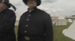 Civil War Era Scenes #15  (Two Civil War, Union Soldiers in Full Regalia) Stock Footage