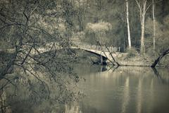 Stock Photo of old bridge in park, vintage toned.
