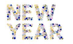 """gemstones words, """"new year"""". isolated on white background. - stock illustration"""