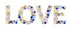 "gemstones words, ""love"". isolated on white background. - stock illustration"