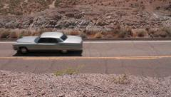 USA 1969 cadillac on the road - Nevada 4 Stock Footage