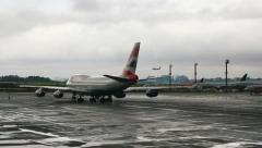 Brazilian Airport - commercial aircraft. Airfield. Rainy day. Sao Paulo. 7 Stock Footage
