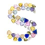 gemstones alphabet, letter s. isolated on white background. - stock illustration