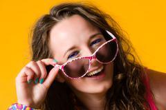 girl and sunglasses - stock photo