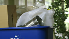 Green concept tilt recycle bin Stock Footage