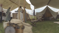 Civil War Era Scenes #12  (Victorian Group in Tent) Stock Footage