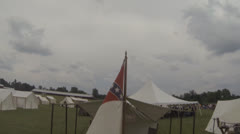 Civil War Era Scenes #7  (Confederate Flag & Tent) Stock Footage