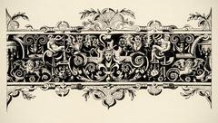 arabesque, renaissance . engraving of 16 century. copyright expired. - stock illustration