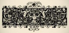 Arabesque, renaissance . engraving of 16 century. copyright expired. Stock Illustration