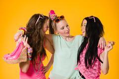 three girlfriends - stock photo