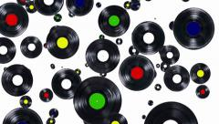Records falling down (ends on blue) Stock Footage