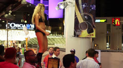 Dancer on Bar at Freemont Street Experience, Las Vegas Stock Footage