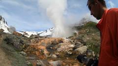 Tourist, geyser Stock Footage