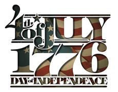 forth of july 1776 doay of independence cut-out - stock illustration
