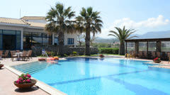 The swimming pool at luxury hotel, Peloponnes, Greece Stock Footage