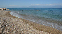 The beach on Ionian Sea at luxury hotel, Peloponnes, Greece Stock Footage