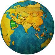 Saudi arabia on globe map Stock Illustration