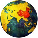 Stock Illustration of china on globe map