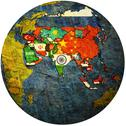 Stock Illustration of political map of asia on globe map