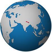 Nepal on globe map Stock Illustration