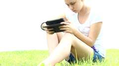 Girl with tablet computer Stock Footage