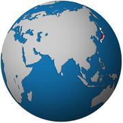 Japan on globe map Stock Illustration