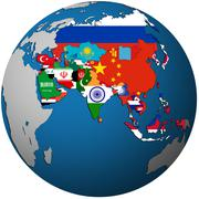 political map of asia on globe map - stock illustration
