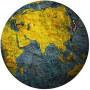 japan on globe map - stock illustration