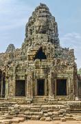 Faces of bayon tample. ankor wat. cambodia. Stock Photos