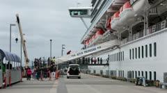 Passengers boarding cruise ship in Ketchikan Alaska HD 7659 - stock footage