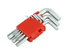 hexagon kit tool or allen wrench set - stock photo