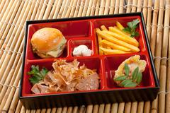 japanese bento lunch .box of fast food with with pork,sandwich and vegetable - stock photo